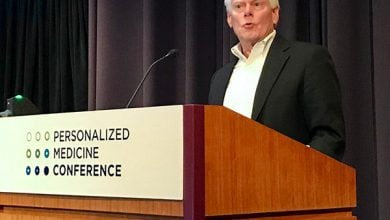 """Photo of Illumina's Jay Flatley: In """"Shock and Awe"""" at State of Personalized Medicine"""