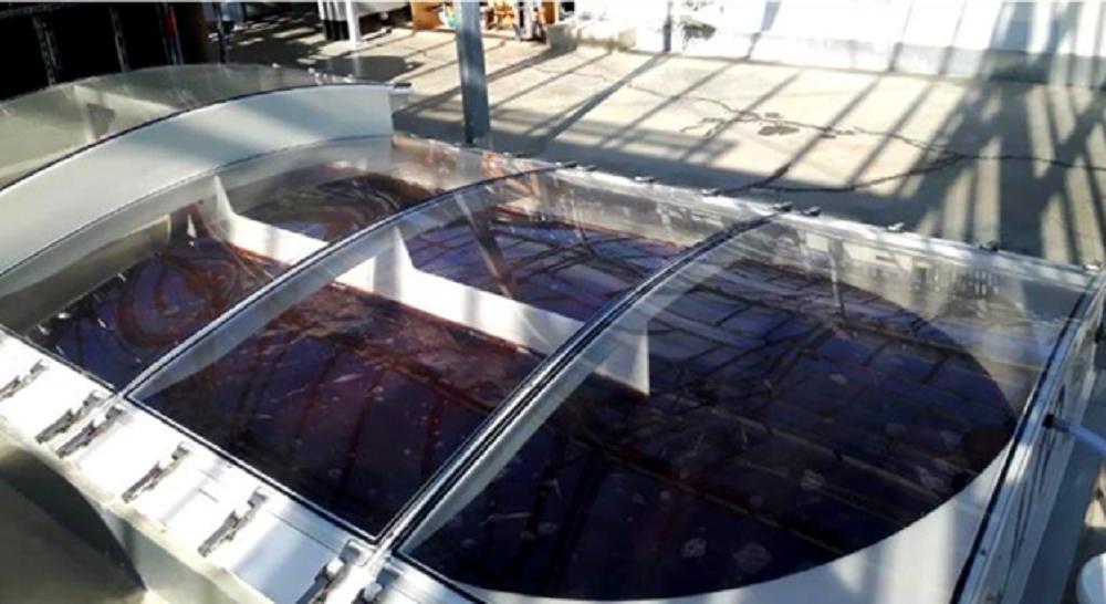 شکل 6- کشت صنعتی ریزجلبکهای قرمز در استخرهای جریان مارپیچی
