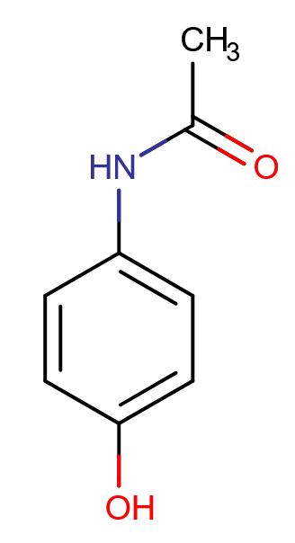 ساختار دوبعدی مولکول استامینوفن